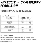 APRICOT AND CRANBERRY Vegan  Instant Porridge Pot 60g NON GF